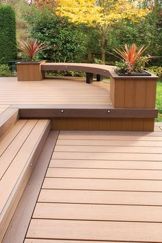 AZEK Arbor Collection decking in Acacia with Kona accents. Check out the curved bench.