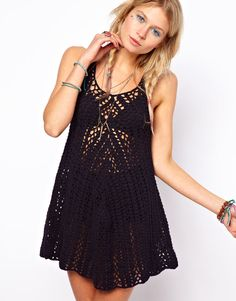 ASOS | ASOS Crochet Village Vest Swing Dress at ASOS