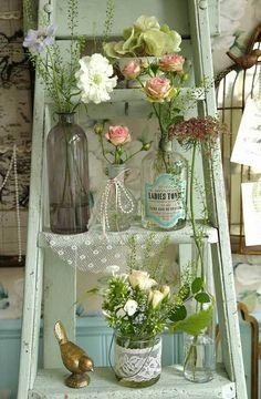 DIY flower stand shabby chic decor ideas old ladder vintage bottles