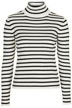 Liquorice Stripe Roll Neck Sweater