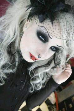 Gothic hair and make-up.