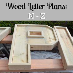 DIY plans to make wood letters (N-Z).