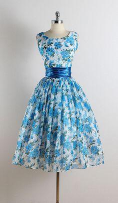 Vintage 50s dress 1950s vintage dress blue by millstreetvintage
