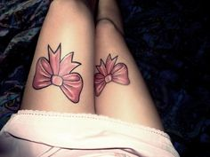 front of the leg bow tattoo love it
