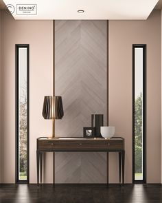 Cipriani Homood x Denino Furniture vanity table in dark oak, wooden wall panel and gold detailed table lamp.