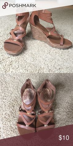 Strappy Wedges Worn twice, in good condition still! Zipper back. Not Pacsun brand, just tagged for exposure!! PacSun Shoes Wedges