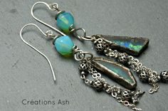 Carribean love - Very unique earrings, handmade components by CreationsAsh on Etsy