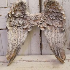 Large ornate angel wings wall decor white and gold with dark distressing shabby cottage chic hanging wings by anita spero design