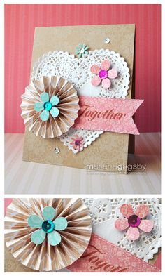Together heart doily and fan flower