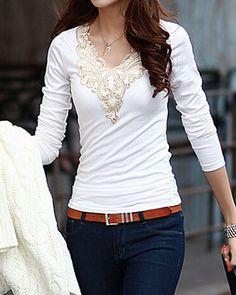 Lacework Splicing Fashionable V-Neck Long Sleeve Women's T-Shirt