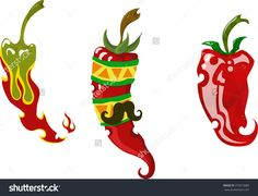 A Set Of Three Different Vector Chili Peppers - 279513683 : Shutterstock