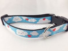 Dog Collar Happy Clouds1 inch wide adjustable by caninedesign