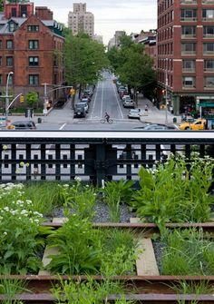 El High Line Park, un parque construido sobre una linea de ferrocarril elevada que estuvo fuera de uso por decadas. #nyc #highline