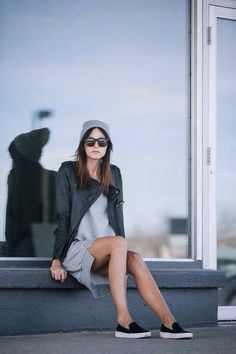 Love this casual fall outfit | Leather jacket | Sweater shirt dress | Vans/Keds | Beanie