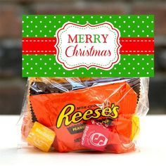 Instant Download - Printable Merry Christmas Treat Bag Toppers Digital File - You Print Yourself