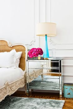 Home Decor Living Room Parisian bedroom with mirrored nightstand and cane headboard.Home Decor Living Room Parisian bedroom with mirrored nightstand and cane headboard Decoration Inspiration, Interior Design Inspiration, Decor Ideas, Color Inspiration, Design Ideas, Home Bedroom, Bedroom Decor, Glam Bedroom, Bedroom Ideas