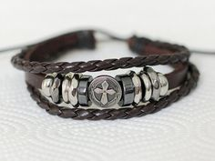 237 Men's brown leather bracelet Cross charm bracelet with rings Fashion leather jewelry Christian bracelet Religious jewelry For him & her