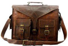 Men s Genuine Vintage Leather Messenger Shoulder Laptop Briefcase Bag  satchel 1d86ffd4c5f20