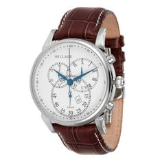 Millage Watches Hampton Watch with White Dial & Brown Coroco Half Leather Strap featured in vente-privee.com