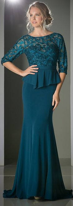 Teal Quarter Sleeves Peplum Full Length Formal Dress #discountdressshop…