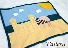 Summer afghan PDF crochet pattern blanket summer beach scene clouds ocean sea blue white yellow jellyfish wall hanging rug sun warm season via Etsy
