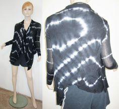 YOUNG FABULOUS & BROKE 100% Modal Tie Dye Stretchy Wrap Jacket Top Black M