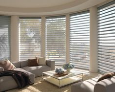 Imagine the beauty of roman shades with view through. Imagine the beauty of Pirouette® window shadings that open to a soft translucent view to the outdoors. ♦ Hunter Douglas window treatments #LivingRoom