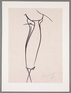 Drawing, Charles James, 1962; paper, ink.  -The Metropolitan Museum of Art