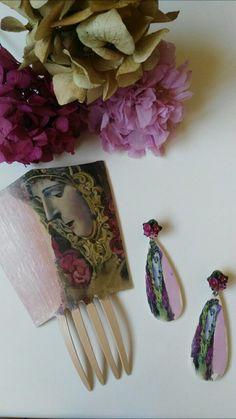 Conjunto de peineta con pendientes a juego... Con la imagen de la Virgen. Es un modelo muy flamenco e único. Nunca realizamos dos iguales.