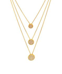 Take a look at this Gold & Cubic Zirconia Waffle Triple-Strand Necklace on zulily today!