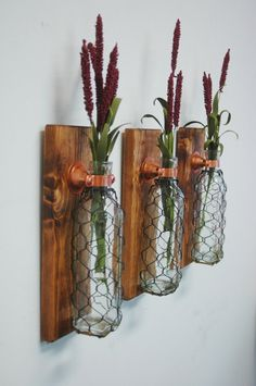 Chicken Wire Bottle Decor Wall Decor, Kitchen Decor Rustic Decor stained wood with wrought iron hook