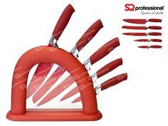 SQPro Endurance Lot de 5 couteaux professionnel au design innovant composé de : 1 support, 1 couteau chef, 1 couteau à pain, 1 couteau à viande, 1 couteau à légume et 1 couteau d'office.  #couteau #chef #couper #rouge #cuisine