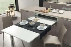 20 Cucine con Tavolo Estraibile a Scomparsa 20 Kitchens with Pull-Out Pull-Out Table Modern Kitchen Cabinets, Kitchen Interior, Kitchen Decor, Kitchen Modern, Kitchen Ideas, Küchen Design, House Design, Design Case, Kitchen Queen