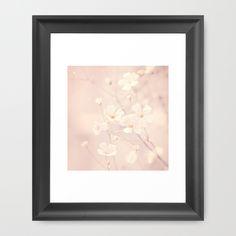 delicate white flowers Framed Art Print