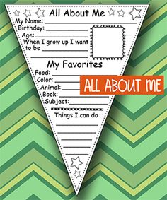 All About Me Printable Pennant Banners back to school ideas First day of school activity #kindergarten #teacherspayteachers #tpt  teacherspayteachers
