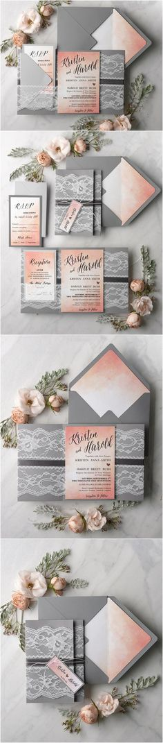Rustic peach and grey watercolor wedding invitations #rusticwedding #countrywedding #weddingideas #fallwedding