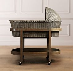 Enthusiastic Restoration Hardware Moses Basket With Stand In Antique Finish Plus Bedding Baby