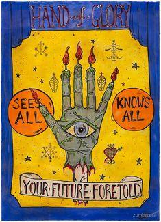 Buy 'Hand of Glory Sideshow Banner' by zomberella as a Greeting Card Creepy Carnival, Creepy Clown, Carnival Signs, Creepy Circus, Band Posters, Cool Posters, Vintage Circus Posters, Vintage Carnival, Magician Art