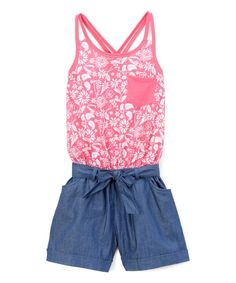 Hot Pink Floral Racerback Romper - Infant Toddler & Girls