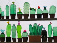 Whimsical Cactus, Mushrooms, Plant Sculptures Made From Recycled Plastic Bottles - DesignTAXI.com