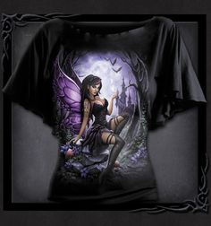 From deep within the enchanted forest a beautiful fairy casts her spells. and what lies in wait in the distant castle on the hill? Bat Sleeve, Tank Shirt, Boat Neck, Cool Shirts, Black Tops, Fashion Brands, Enchanted, Spiral, Sleeves