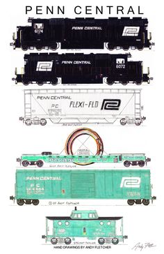"""An 11""""x17"""" poster with some of Andy Fletcher's hand drawings of Penn Central locomotives and rolling stock."""