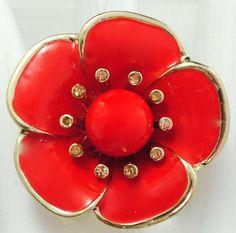 Poppy Flower Statement Ring/Red/Gold/Spring/Summer