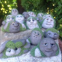 Fairy garden rock gnome decoration Pebblings by Beneaththeferns