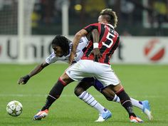 Philippe Mexes and Dieudonne Mbokani battle for the ball Ac Milan, Battle, Running, Sports, Hs Sports, Keep Running, Why I Run, Sport