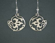 Tropical+Flower+Sterling+Silver+Earrings+by+IntricateCuts+on+Etsy,+$40.00