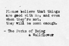 Quote from 'The Perks of Being a Wallflower' by Stephen Chbosky