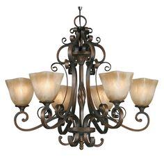 Golden Lighting Meridian 6 Light Chandelier in Golden Bronze with Square Antique Marbled Glass 3890-6-GB #lightingnewyork #lny #lighting