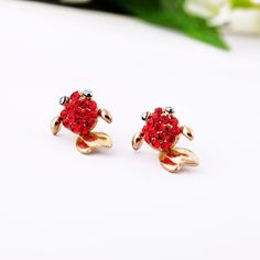 Lovely Gold Alloy Fish-shaped Stud Earrings With Red Artificial Crystals - View All - New In