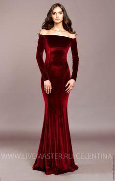 Купить Длинное бархатное вечернее платье в пол. Красное платье из бархата - ярко-красный